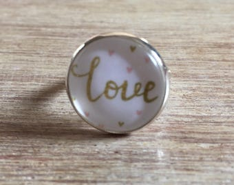 LOVE ring cabochon 16 mm silver plated