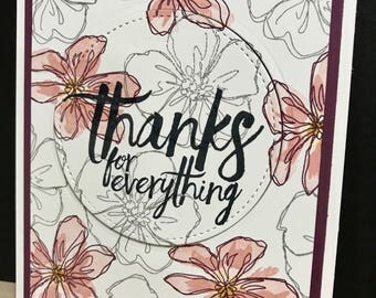 Thanks For Everything 4 pack of Thank You cards, thank you card, thank you card pack, thanks for everything card, generic thank you card
