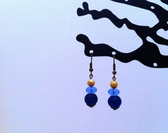 Earrings romantic blue and Golden