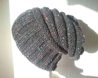 Heather black hand knitted
