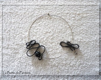 Torque black rubber and polymer clay necklace