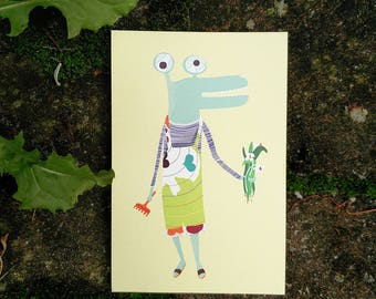 Gardening crocodile, gardening postcard, plantlover illustration, farmer birthday, garden flowers, crocodile illustration, pastel postcard
