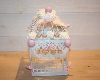 Powder Pink White birdcage wedding urn and feathers