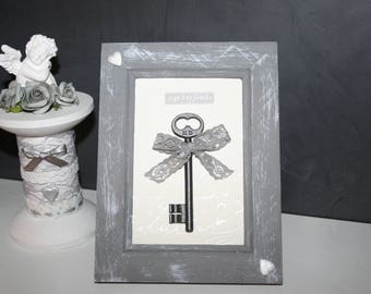Gray frame standing or hanging limed old key family