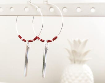Bar earrings in silver plated charm