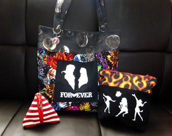 Labyrinth Themed Tote Bag , vanity case and coin purse