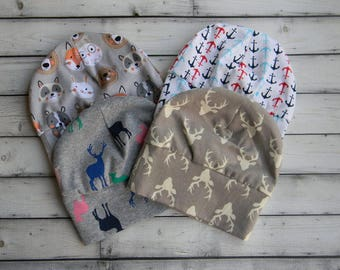 Baby Beanies, Baby Shower Gifts, Anchor Beanies, Deer Beanies, Animal Beanies