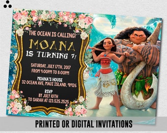 Moana Invitation, Moana Birthday Party Invitation, Princess Moana Birthday Invitation, Maui and Moana Printed Invitation, Printable, Digital