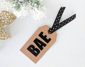 "Handmade ""Bae"" Christmas Holiday Gift Tag Label with Plaid Tree on Kraft Card Stock"