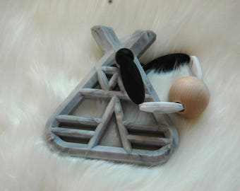 Teepee Black/Gray/White Baby Gift Teether