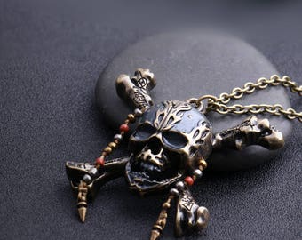 PIRATES of the CARIBBEAN 5 Pendant Necklace Dead Men Tell No Tales Salazar's Revenge Handmade Beads