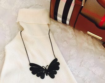 The Lilly Collective Black Butterfly Necklace