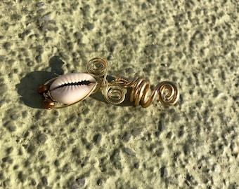 Cowrie Beaded Loc Jewelry