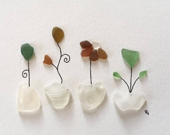 Sea Glass 'Flower Pot Garden' unframed art