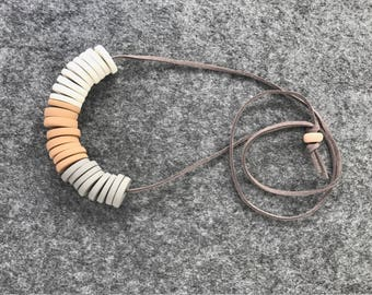 Neutral Polymer Clay Disc Necklace