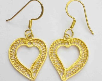 Heat Shape earrings, Sterling Silver 925, Gold Plated, Perfect Gift For The Women You Love, Beautifully Made, Light Weighted, Royal Look