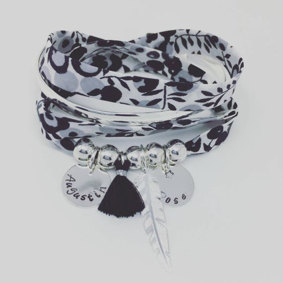 ★ Liberty Addict ★ Liberty Bracelet exclusive WILTSHIRE winter morning - GriGri XL with 2 custom ENGRAVINGS, silver feather and tassel
