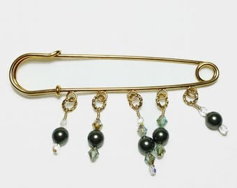 Olive Green Pearl Crystal Beaded 14K Shawl Brooch Kilt Pin