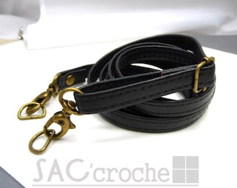 1 x strap shoulder bag handle long adjustable width 12mm black faux leather