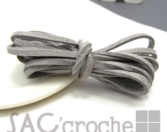 1 x metre of light gray suede cord