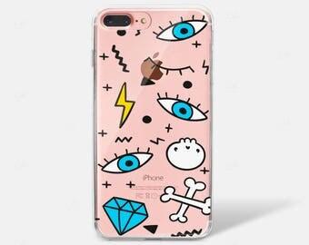 Punk Doodle Eye Pattern Print Diamond Clear Silicone TPU iPhone Case iPhone 6 iPhone 7 iPhone 7 PLUS iPhone 6 PLUS
