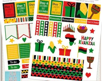 Kwanzaa Erin Condren Life Planner Sticker Kit Printables Calendar