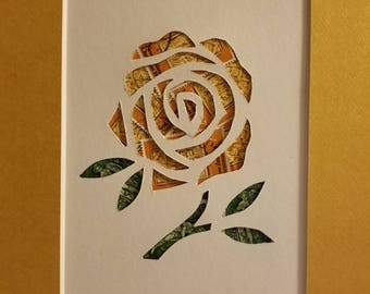 Postage Stamp Collage - Golden Rose