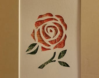 Postage Stamp Collage - Red Rose