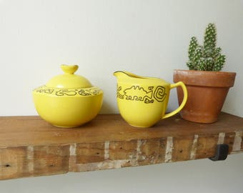 Mikasa Congo Yellow Creamer Set, Sugar Pot, Abstract, 90s