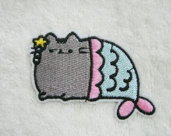 Cat Iron On Patch Mermaid Embroidered Applique Patches For Jackets