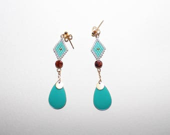 Gold Stud Earrings with a weaving Miyuki diamond turquoise green round glass bead drop