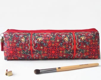 Art gifts, Russian scarf inspired, mascara bag, pencil pouch, brush bag, art gift, student gift, teacher gift, pen pouch, sewing pouch.