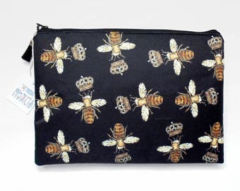 Gifts for her, Wash bag, Golden embroidered bumble bee print, travel bag, cosmetic bag, zip bag, make up bag, womens gift idea.