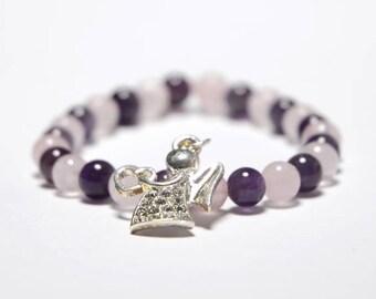 Angel bracelet with Rose Quartz
