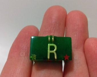 Letter R Green resin ring with glitter stars