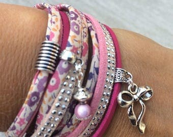 Multi row bracelet pink Liberty and suede