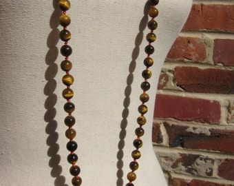 Bright Eyes - Tigers Eye Wrap Necklace - Genuine Tigers Eye & Pure Silk Thread