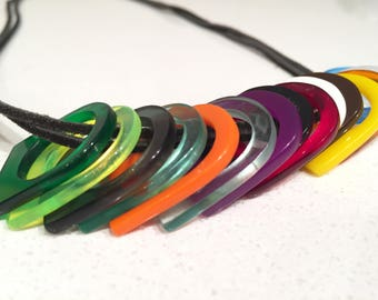 Multi-Coloured Plexiglass and Leather Long Necklace