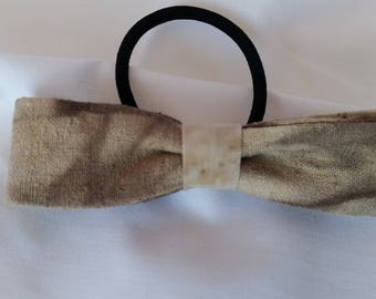 Unique Eco Dyed Hair Bow 10cm Linen