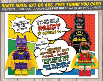 Lego Batman Invitation, Lego Batman Birthday, Lego Batman Birthday Invitation, Lego Batman Party, Lego Batman Invite, Lego Batman Printable