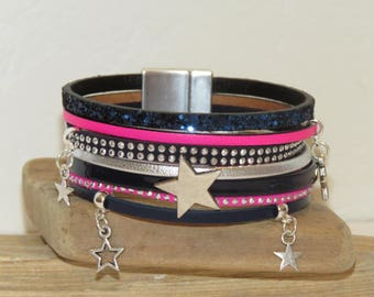 """Cuff Bracelet, multi-row, Navy Blue, pink neon, silver, leather, suede, glitter, """"Star and stripes"""" Star charm"""