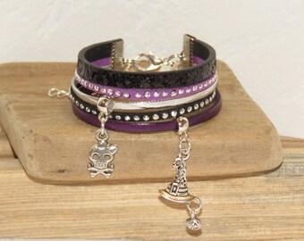 Halloween Cuff Bracelet, purple, black, silver, for girl, leather, glitter, studded Suede, skull, witch, pumpkin