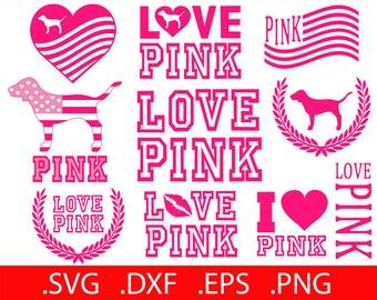 Bundle! Love Pink SVG File - Love Pink Clip Art - Love Pink SVG - Love Pink VS - Love Pink Printable - Love Pink Decal Dog