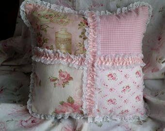 VERY NICE PILLOW SHABBY CHIC PASTEL PATCHWORK
