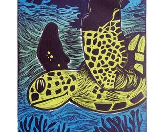 La Tortuga Hand-Made Original Linocut Print