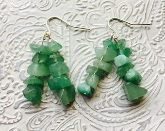 """Green rough """"stone"""" earrings"""
