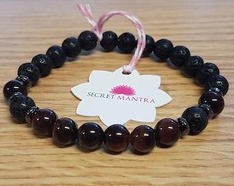 Bracelet Red Tiger Eye's lava rock essantial oil diffuser Mala Adjustable SM0062