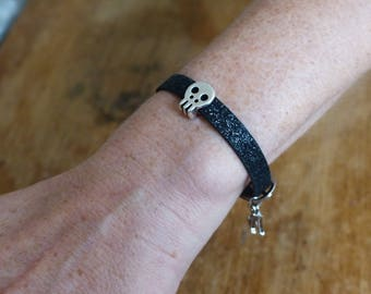 "Wristwatch glittery black skull ""Black Rock Scintillant"""