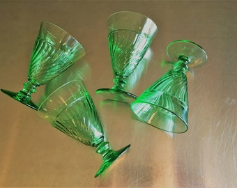 Set of Four Vintage Green Glass Sundae or Parfait Cups/Dishes - Swirl Pattern - Ice Cream Dishes - Plus Bonus