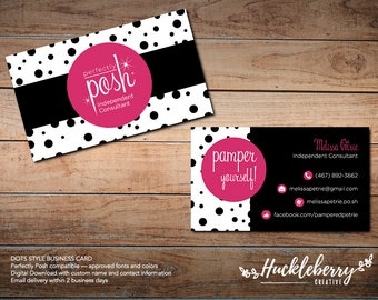 "Perfectly Posh Business Cards ""Dots"", Perfectly Posh Independent Consultant, 3.5x2, Digital Download"